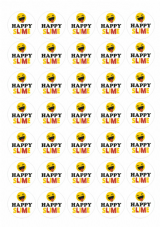 Slime Stickers - Happy Slime - 35 Matt Paper Stickers At 37mm